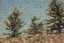 Cliff Top Pines-Original Oil Pastel-7x5