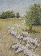 Trail of Autumn Wild Flowers-Original Oil Pastel-7x5.75