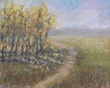 Late Summer Dog Walk-Original Oil Pastel-7x5
