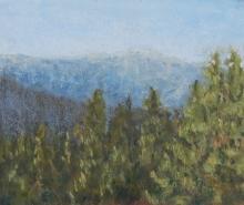 Hazy Ridge View-Original Soft Pastel-5x5.5