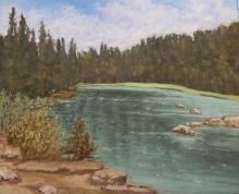 Mountain Lake-Original Soft Pastel-11.5 x10