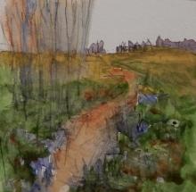 Dog Walk-Original Watercolour-4x6