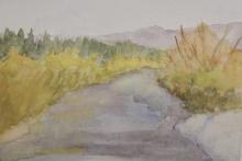 Down Stream Lundbreck-Original Watercolour-7x5