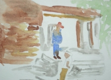 Waiting for Tourist Bus to Leave-Original Watercolour-7x5