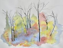 Winter Poplars-Original Watercolour-Sold
