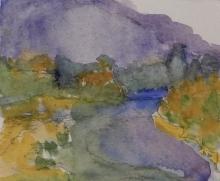 Fall Crowsnest Lake- Original Watercolour-4x6